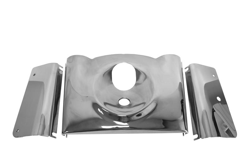 CHROME SMOOTH FORK TIN COVER KIT 3 PIECE HARLEY  FLST 2000-15 REPL OE # 66440-05