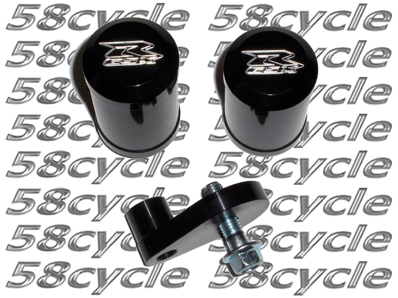 2008-2009 Suzuki GSXR600 Black Frame Sliders with GSXR Engraved End ...